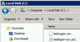 Archivo csv generado en C:\lastLogon.csv