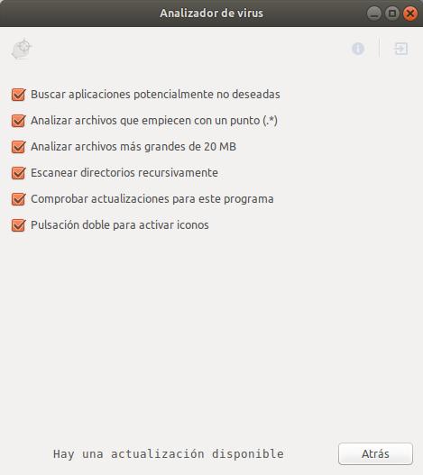 Configuraciones generales del analizador de virus