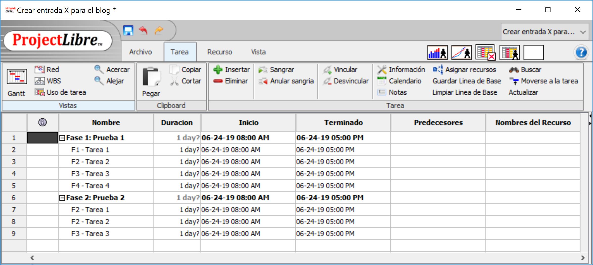 Alternativa libre a Microsoft Project - ProjectLibre - IngDiaz